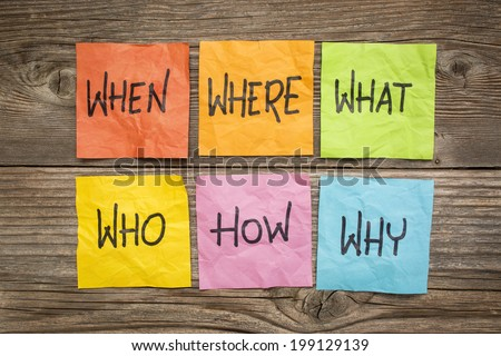 where, when, who, what, why, how questions - uncertainty, brainstorming or decision making concept, colorful crumpled sticky notes on grained wood - stock photo