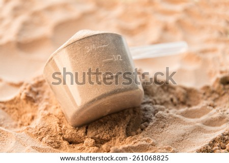 Whey protein scoop. Sports nutrition. - stock photo