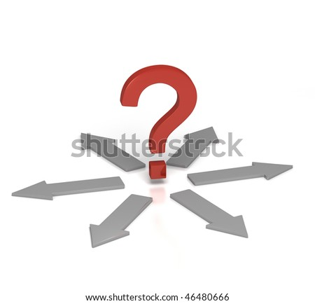 Which Direction?  [3D render of Question Mark at a Crossroad] - stock photo