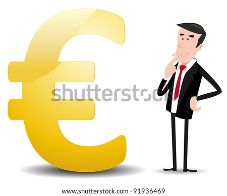 Which Future For Euro ?/ Illustration of a cartoon businessman trader worrying about what will happen in the future for euro's currency - stock photo