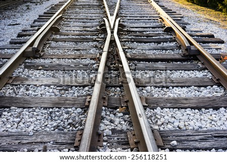 Which Is My Direction - Train track - stock photo
