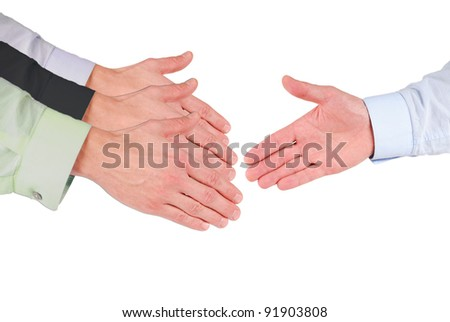 Which is the right hand for a shake with it? - stock photo