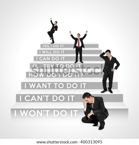 Which steps are you now? - The stages of business people development - stock photo