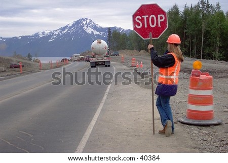While stuck in traffic in a construction zone along the Alaskan Highway, you'll at least have a great view to enjoy. - stock photo