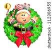 Whimsical Cartoon Christmas Wreath with Elf - stock vector