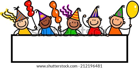 Whimsical cartoon illustration of a group of happy and diverse birthday party children standing around a blank page banner. - stock photo