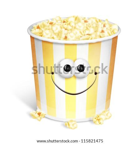 Whimsical Cartoon Popcorn Bucket - stock photo