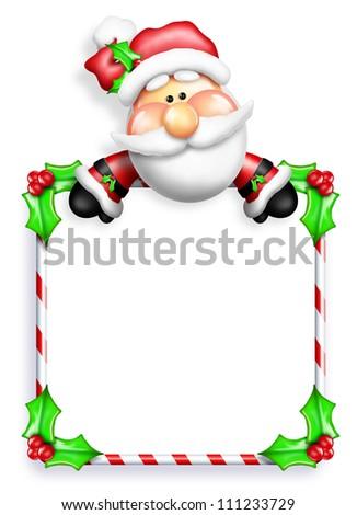 Whimsical Cartoon Santa leaning Over Sign - stock photo