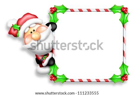 Whimsical Cartoon Santa Peeking Around Candy Cane Sign - stock photo
