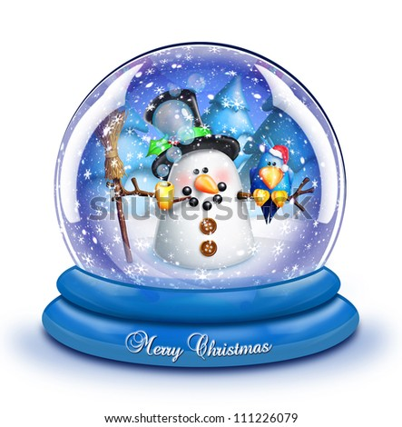 Whimsical Cartoon Snowman Snow Globe