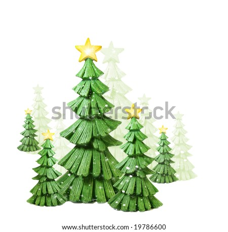 Whimsical  christmas trees against a white background - stock photo