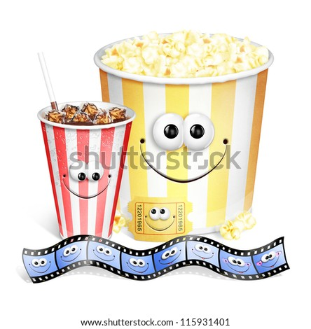 Whimsical Cute Cartoon Popcorn, Soda Movie Ticket and Film Strip - stock photo