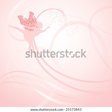 Whimsical fairy on a pink background to delight guests at a childrens party or use for marketing. - stock photo