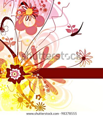 Whimsical flowers design in a springtime spirit - stock photo