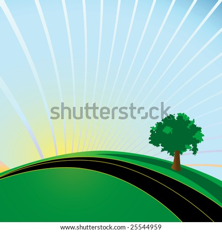 Whimsical illustrated highway and tree. Imagine future sustainable development. - stock photo