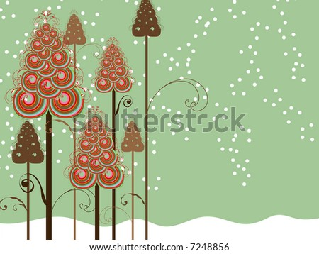 whimsical swirls winter trees (raster) - stock photo