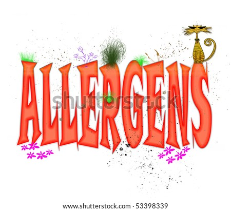 "Whimsical typography design in red caps illustrating the word ""Allergens"" - stock photo"