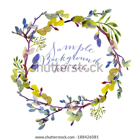 Whimsical wreath wallpaper with room for your text - stock photo