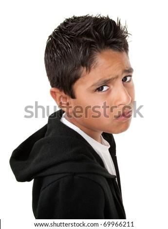 Whiny or sad Hispanic male on white background - stock photo