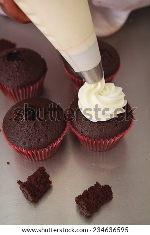 Whipped cream being piped onto chocolate cupcakes - stock photo