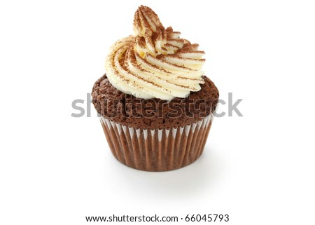 whipped cream chocolate cupcake on white background - stock photo