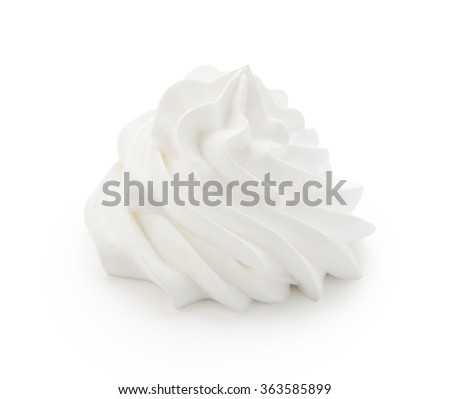 Whipped cream isolated on a white background with clipping path. Front view. - stock photo