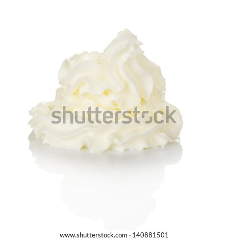 Whipped cream isolated on white - stock photo