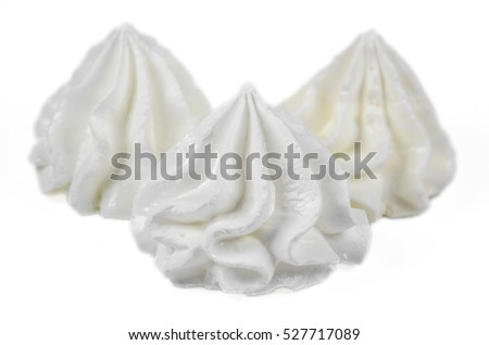 Whipped eggs on white background. Clipping path included.