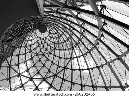 Whirl architecture rooftop in black and white - stock photo