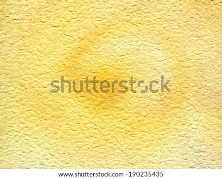 Whirling sun watercolor texture background earthy yellow course structured paper. - stock photo