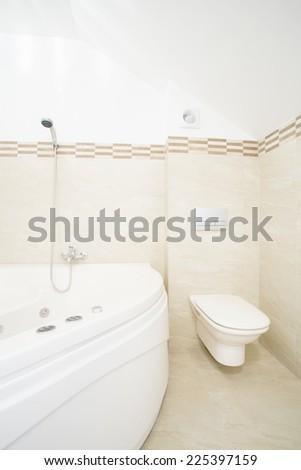 Whirlpool bath in luxury and modern bathroom - stock photo