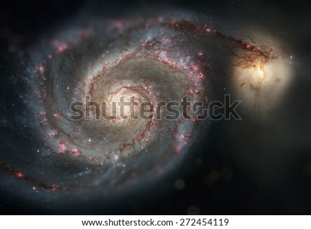 Whirlpool Galaxy and Companion. Winding arms of the spiral galaxy M51 (NGC 5194) appear like a grand spiral staircase sweeping through space. Small DOF. Elements of this image furnished by NASA. - stock photo