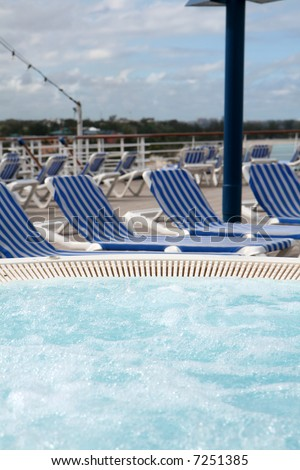 Whirlpool on the deck of a cruise ship - stock photo