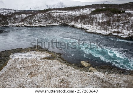 Whirlpools of the maelstrom of Saltstraumen, Nordland, Norway - stock photo