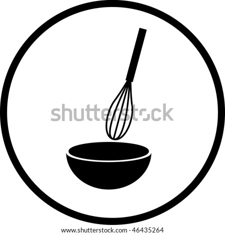 whisk and bowl symbol - stock photo
