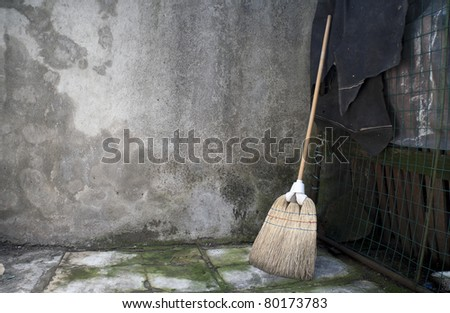 Whisk Broom leaning against a grunge wall