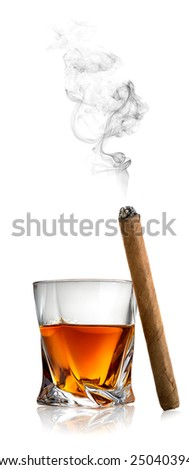 Whiskey and cigar isolated on a white background - stock photo