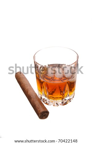 whiskey and cigar on white - stock photo