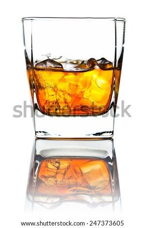 whiskey and natural ice isolated on white background - stock photo