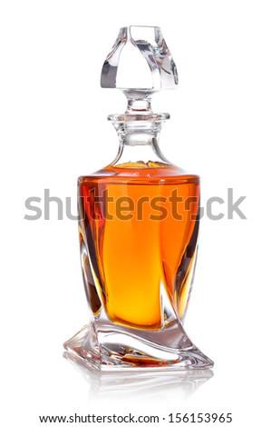 whiskey bottles isolated on white background - stock photo