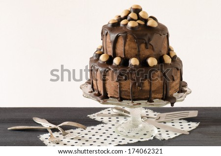 Whiskey cake with peanut butter cream and chocolate From series Winter pastry - stock photo