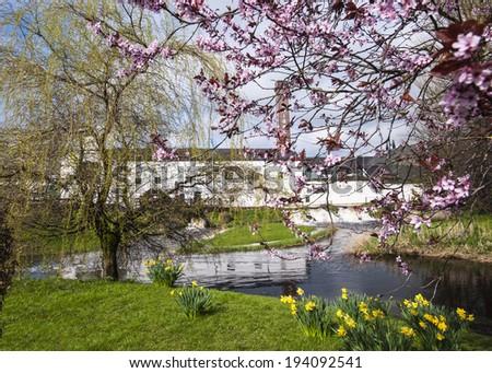 whiskey factory in Kilbeggan in spring time, Ireland - stock photo