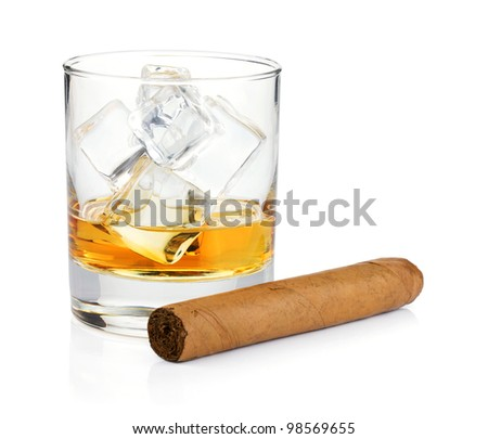 Whiskey glass and cigar. Isolated on white background - stock photo