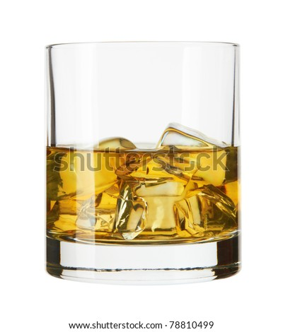 Whiskey glass. Isolated on white with reflection - stock photo