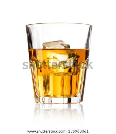 Whiskey glass. Isolated on white with reflection. With clipping path