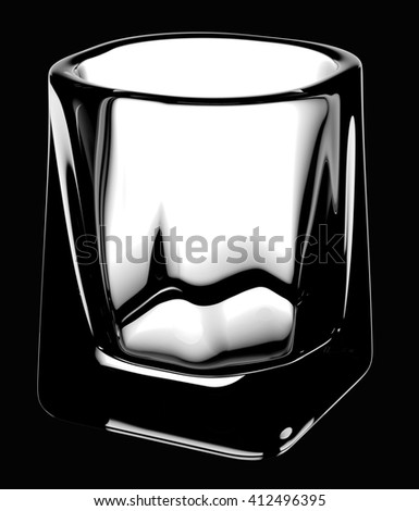 Whiskey glass with clipping path.  Isolated on black background. 3D illustration - stock photo