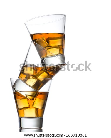 whiskey glasses hip isolater on white background