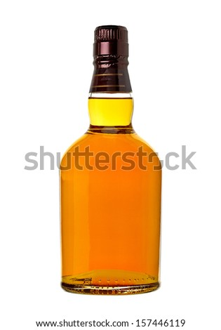 Whiskey in bottle on white background