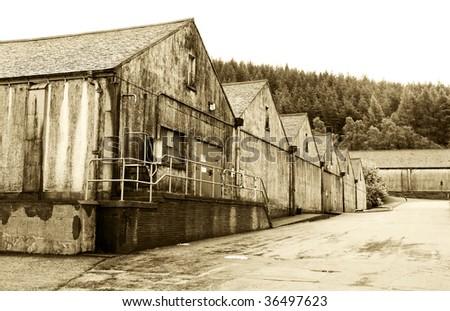 Whiskey Malt Warehouse - Scotland - stock photo