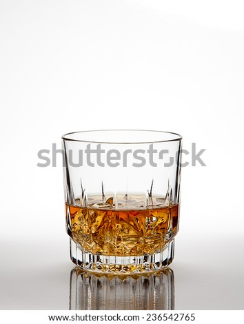 Whiskey on ice with glass reflection